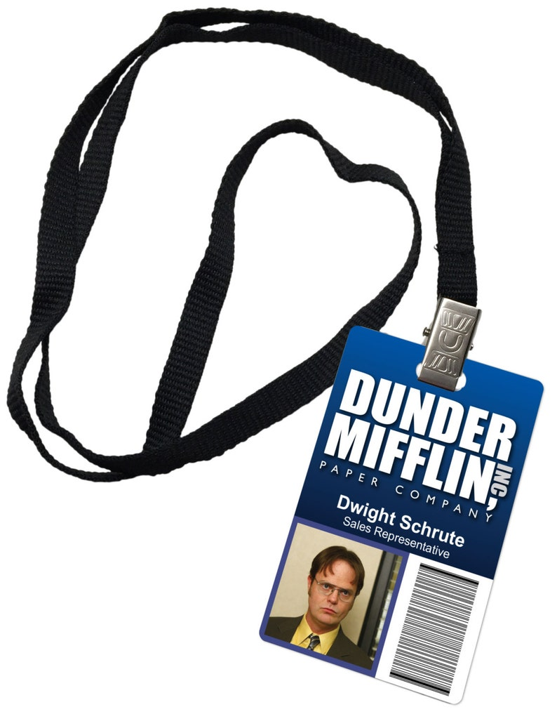 photograph about Dwight Schrute Id Badge Printable named Dwight Schrute Dunder Mifflin Inc. Novelty Identity Badge The Business office Prop Gown