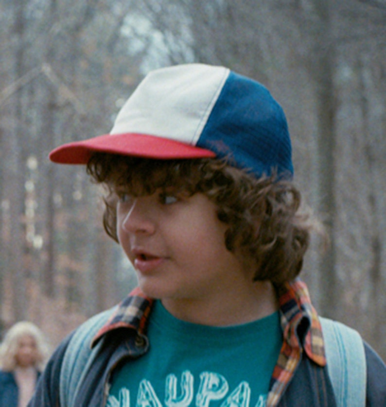 4315656a2a91c Stranger Things Show Red White   Blue Trucker Hat Dustin Cap