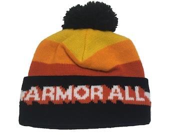 465c6d06 Vintage Armor All Toque - Vintage Winter Hat - Armor All Beanie - 80s Armor  All Hat - Pom Pom Hat - Pom Pom Toque - Orange Black & Yellow