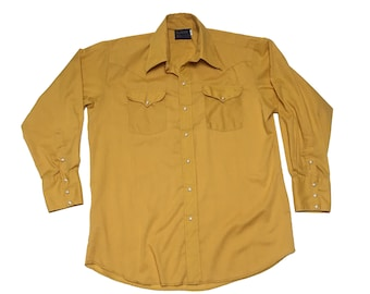 8722714f84a8b Vintage Panhandle Slim Shirt - Vintage Yellow Western Shirt - Mustard Yellow  Shirt - Yellow Button Up Shirt - Yellow Cowboy Shirt - Western