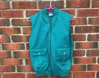 Vintage Wrangler Vest - Vintage Teal Vest - Vintage Green Vest - Vintage Wrangler Vest - Western Vest - Cowgirl Vest - Vintage Zip Up Vest