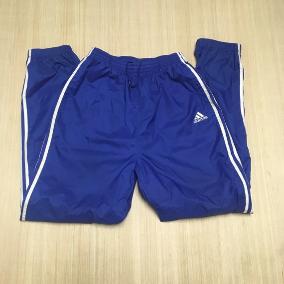 90s Blue and White Adidas Track Pants - 90s Track