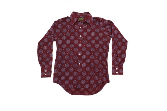 70s Button Up Shirt - Vintage Burgundy Button Up S