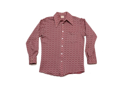 60s Button Up Shirt - Vintage Red and White Button