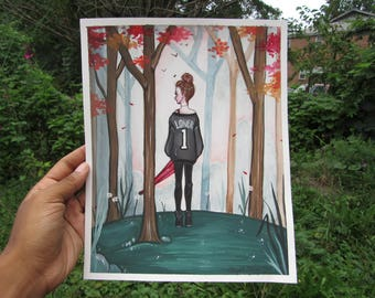 "ORIGINAL GOUACHE PAINTING- ""Loner"" 8""x10"" original painting"