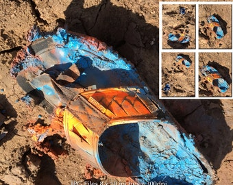 4 Clip Art Photos | Stock Photos | Sandal in Mud Spray Painted Bright Colors | Small Business & Commercial Use | Blue Yellow Orange