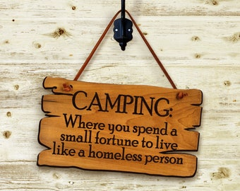 "Rustic Etched-Pine Sign, ""Camping"" Humor"
