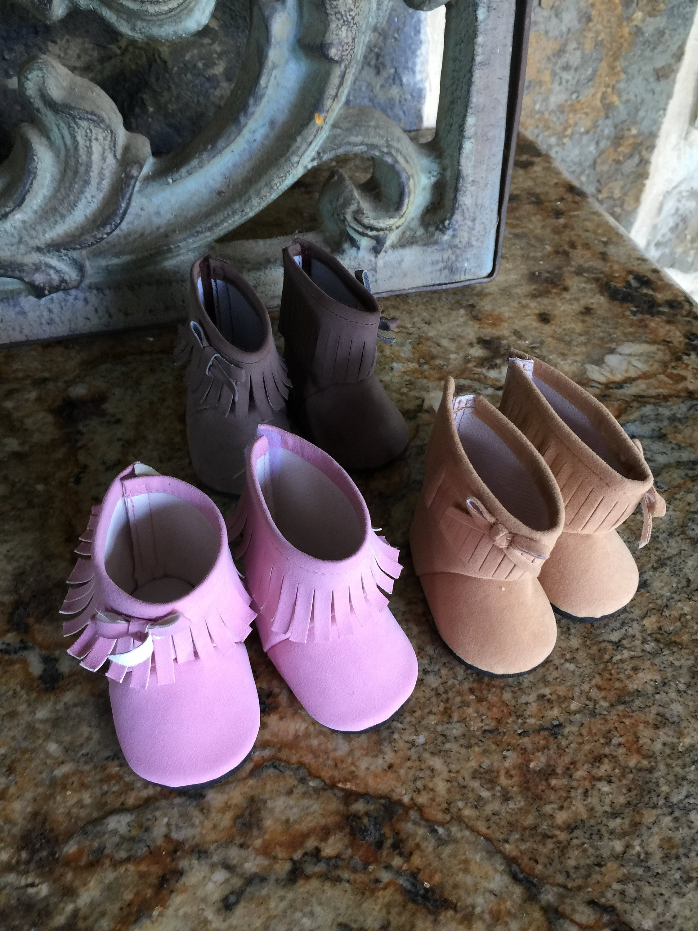 """Purple Fur Boots Fits 18/"""" American Girl Doll Clothes Shoes"""