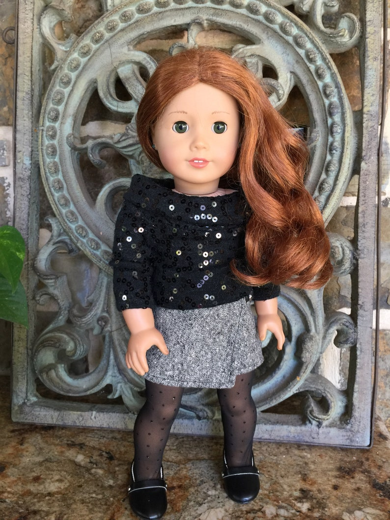 Doll Clothes fit 18 inch American Girl doll Leggings White with Sequins