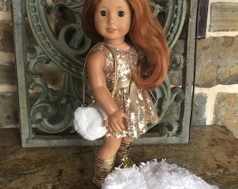 Hand made 18 in doll clothes that fits dolls like the American Girl Doll- Fur jacket