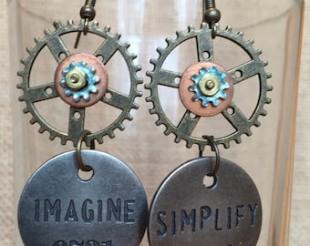 Steampunk * Words to Live By * up-cycled hardware * chic