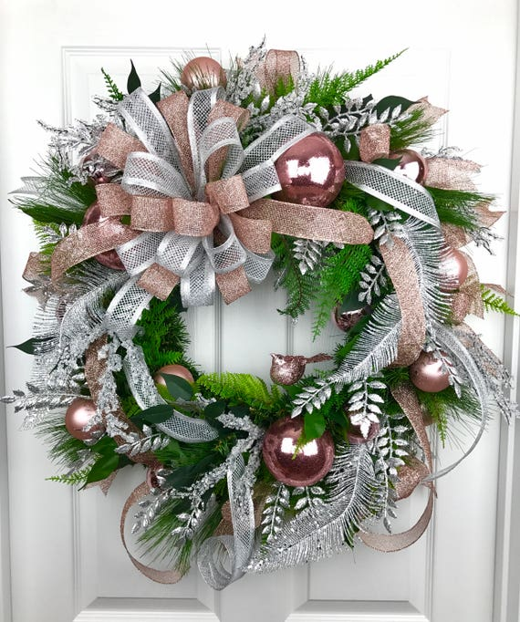 Gold Christmas Wreath.Christmas Wreath Rose Gold Christmas Rose Gold Decor Silver Christmas Silver Decor Front Door Decor Christmas Door Decor Christmas