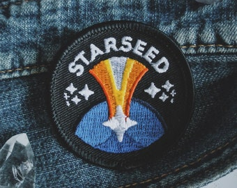 """Starseed Patch - New Age Esoteric Fashion - 2"""" Iron On Embroidered Patch - Cosmic Soul Family Badge - Crystal, Indigo, Rainbow Children"""