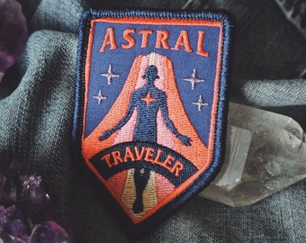 """Astral Traveler Patch - Metaphysical Fashion Accessory - 3"""" Iron On Embroidered Patch - for Psychonauts & Dreamers"""