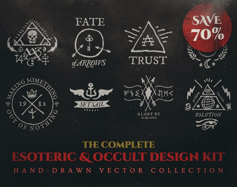 Complete Esoteric & Occult Design Kit  574 Vector image 0