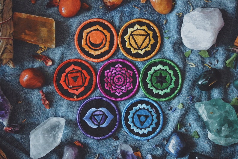 Healing Chakra Patches: Complete Set of 7 Iron-On Embroidered image 0