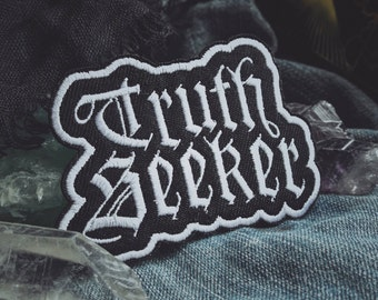 """Truth Seeker Patch - Metaphysical Accessory - 3"""" and 4"""" Iron On Embroidered Patches - Spiritual, Conspiracy, Esoteric - Purple, Gold, White"""