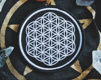 """Flower of Life - Sacred Geometry Patch - New Age, Punk Fashion Accessory - 3"""" Iron On Embroidered Patch - Metaphysical Item"""