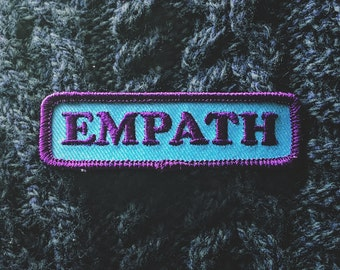 """Empath Patch - Sensitive Intuitive Fashion Accessory - 3"""" Iron On Embroidered Patch - Tear Drop Blue - Shy Introvert Conversation Starter"""