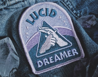 """Lucid Dreamer Patch - Metaphysical Fashion Accessory - 3"""" Iron On Embroidered Patch - Dreamy Blue Hazy Pink for Consciousness Explorers"""
