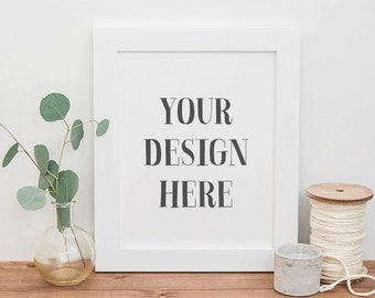 Styled Stock Photography | White Picture Frame and Eucalyptus | Frame Stock Photography | Digital Image