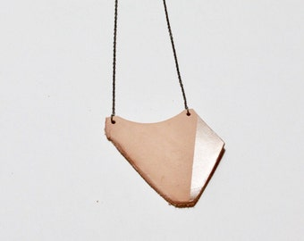 Handcrafted leather necklace, leather jewelry, recycled leather, metallic