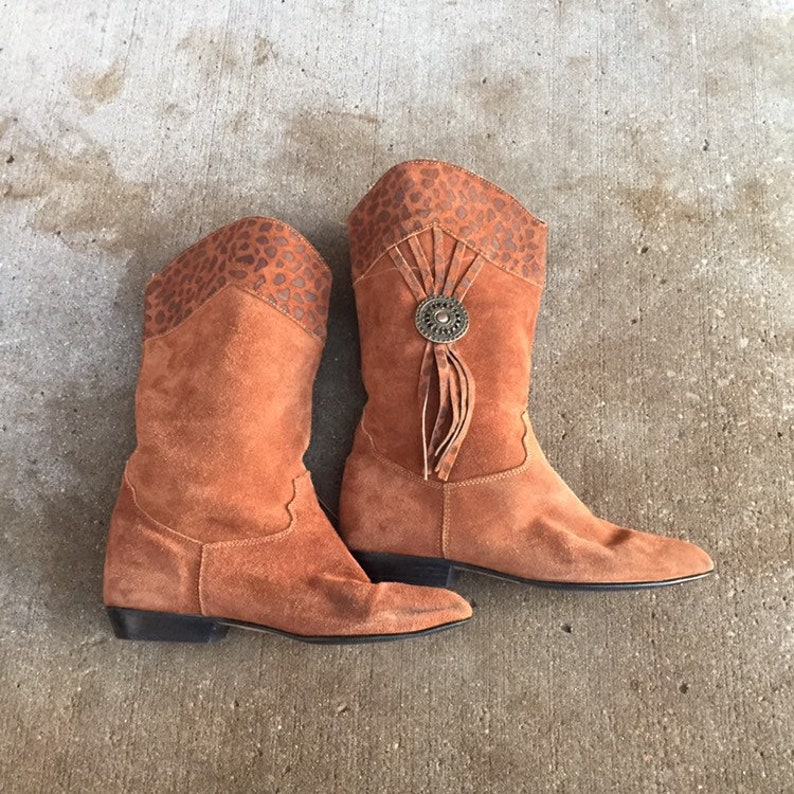 05f91e6884e Suede tall boots, vintage western boots, conch, vintage suede boots,  vintage boots, size 6.5 boots, suede fringe boots, womens vintage