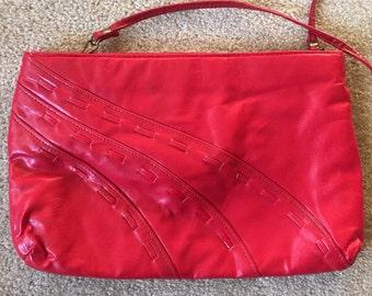 Red leather purse, leather purse, 1980s bag, red leather, 80s purses, small vintage handbags, vintage leather purse
