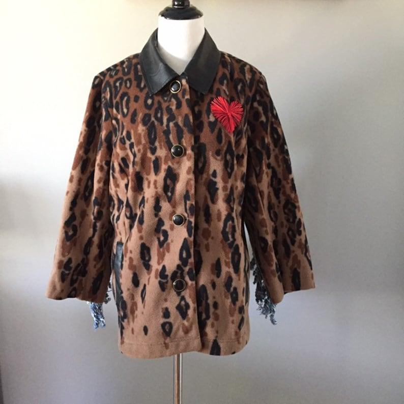 5dc9f0cf821b4 Upcycled bob mackie jacket fringe jacket leopard print