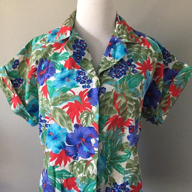 90s top vintage hawaiian shirt large vintage Vintage floral shirt womens vintage clothing dolman sleeves 80s top medium vintage