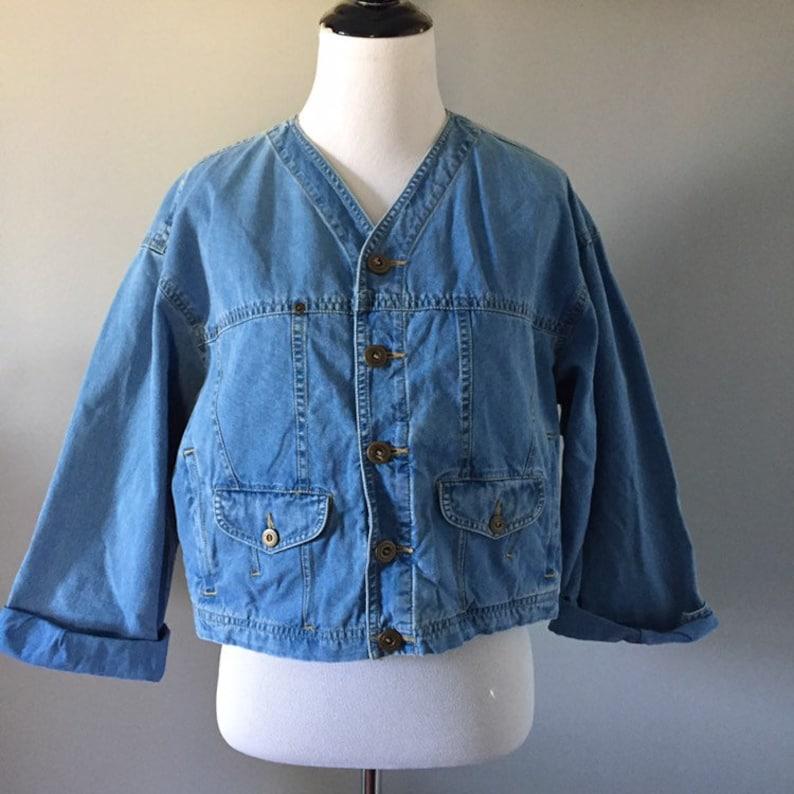 Vintage lizwear vintage crop jacket vintage liz claiborne crop denim jacket oversized denim jacket small vintage denim jacket