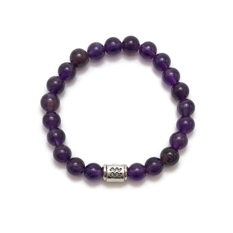 Chakra Aquarius Zodiac Bracelet: 6.5\u201d February Bracelet BS1090 Social Anxiety Birthstone Mala Zodiac Bracelet Grade AA Amethyst