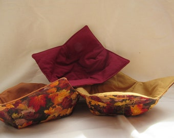 Fall Leaves Reversible Bowl Cozy with Color Variations