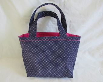 Navy and Pink Purse with Interior Pockets