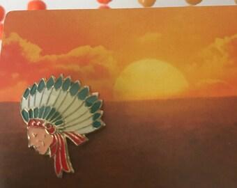 Vintage Deadstock Enamel Native American Indian Chief Pin
