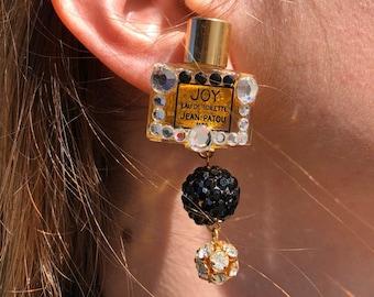 1980s Vintage Mini Joy Perfume Bottle Rhinestone Dangle Clip-On Earrings