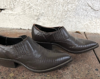 Vintage Nocona Leather Embossed Low Ankle Cowboy Boots