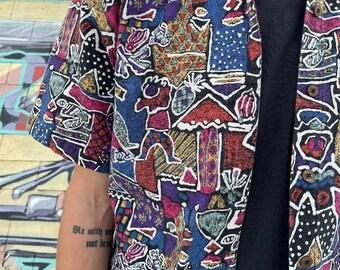 Amazing & Unique Alover Nubian Print Barkcloth Button Down Shirt Coconut Buttons