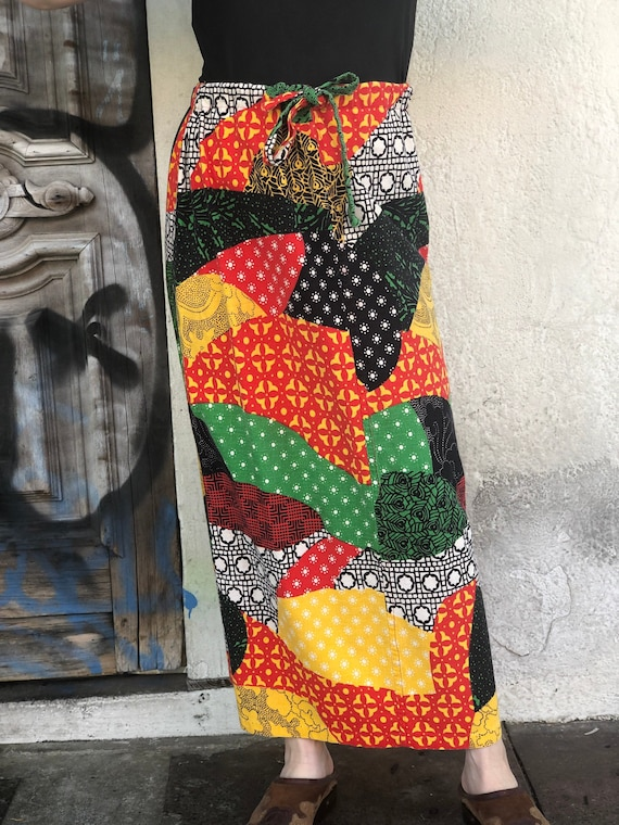Vintage 1970's Bright Patchwork Printed Maxi Skirt