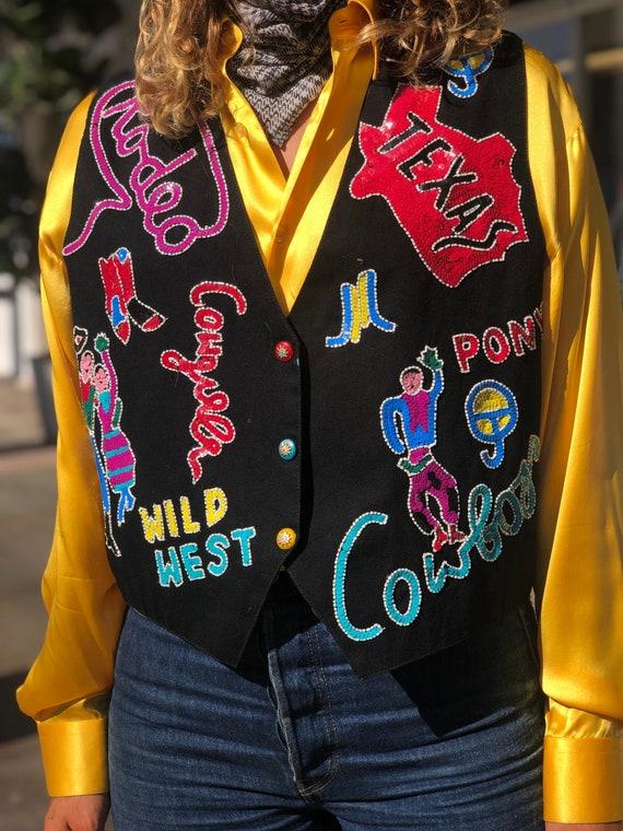 Vintage Modi Texas Rodeo Themed Sequin Vest