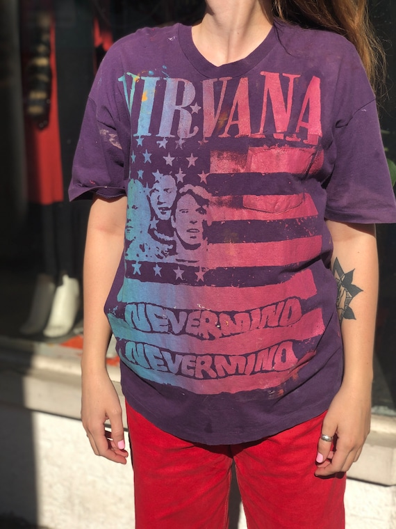Hanes Stencil Painted Nirvana Nevermind Graphic Po