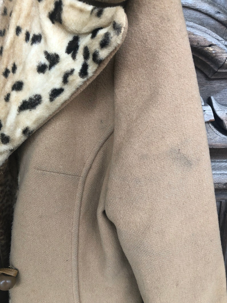 Vintage Leopard Trim Button Down Double Breasted Coat