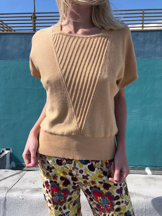 Vintage Linea Hauber Short Sleeve Ribbed Square Ne