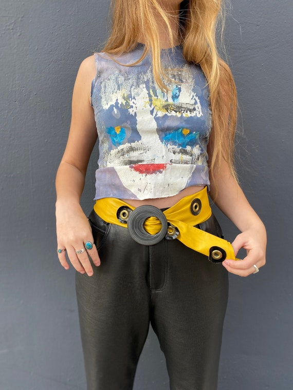 Vintage 1980's Yellow Leather Eyelet Waist Belt