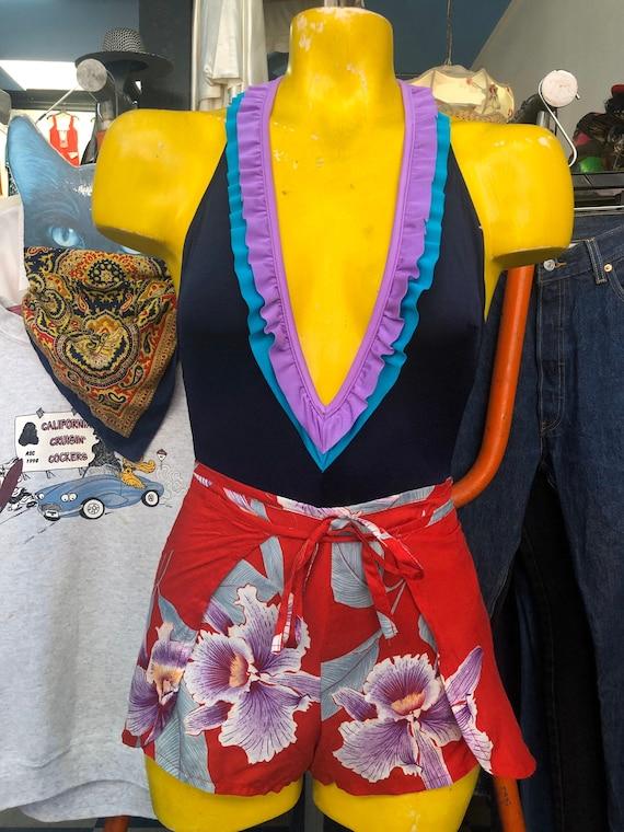 Vintage Hawaiian Floral Print Wrap Shorts