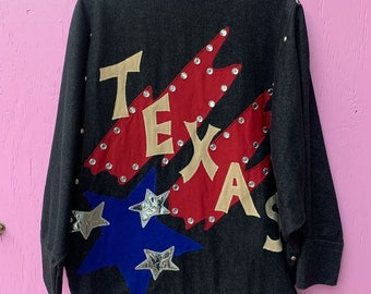 Awesome Texas Themed Denim Jacket With Silver Stars, Rhinestones And Single Front Button