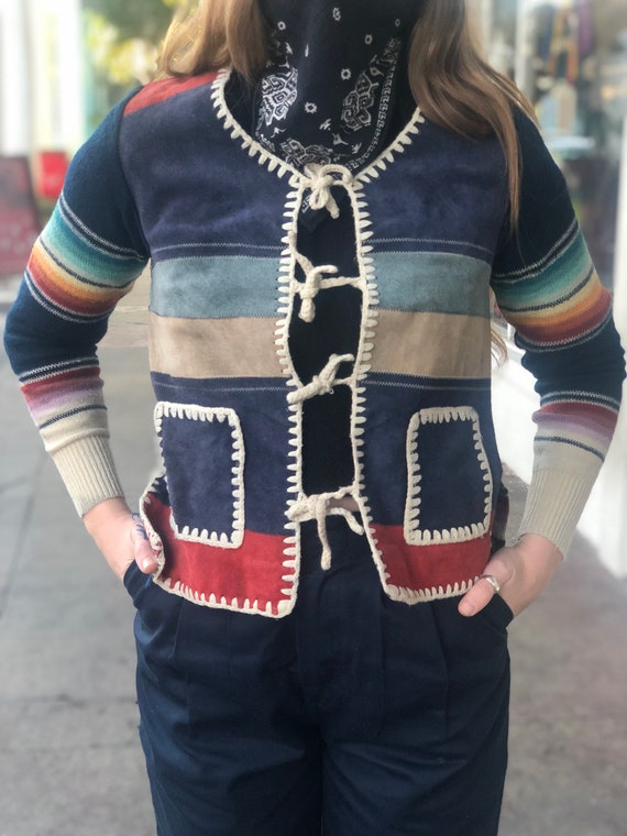 Vintage Knit and Suede Textile Patchwork Striped T
