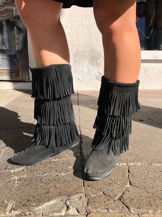 Minnetonka Fringed Suede Mid Height Moccasins/Boot