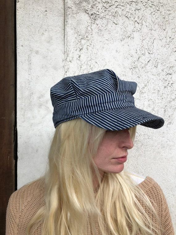 Vintage Cotton Twill Striped Cap - image 1