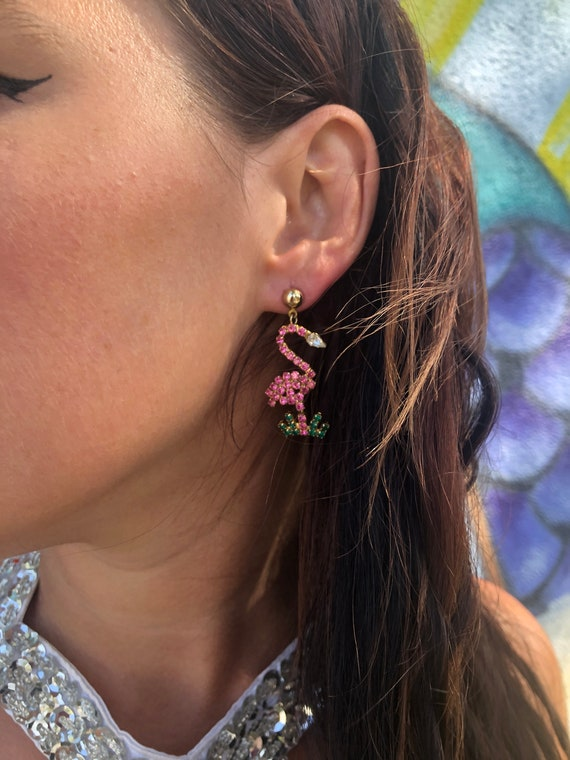 Vintage 1980s Flamingo Rhinestone Earrings